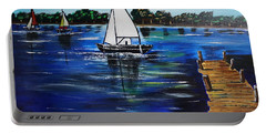 Sailboats And Pier Portable Battery Charger