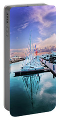 sailboats and yachts in the roads of the main sea channel of the Sochi seaport Portable Battery Charger