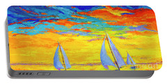 Sailboats At Sunset, Colorful Landscape, Impressionistic Art Portable Battery Charger