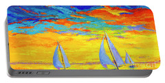 Portable Battery Charger featuring the painting Sailboats At Sunset, Colorful Landscape, Impressionistic Art by Patricia Awapara