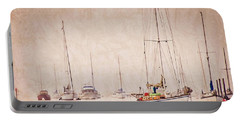 Sailboats In Morro Bay Fog Portable Battery Charger