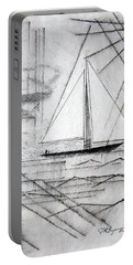 Sailing In The City Harbor Portable Battery Charger by J R Seymour