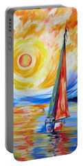 Sailing In The Hot Summer Sunset Portable Battery Charger