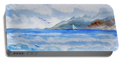 Portable Battery Charger featuring the painting Sailing Into Moorea by Dorothy Darden