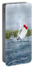 Portable Battery Charger featuring the painting Sailing On Niagara River by Melly Terpening