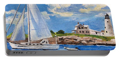 Sailing Past Wood Island Lighthouse Portable Battery Charger