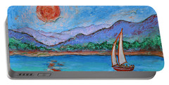 Portable Battery Charger featuring the painting Sailing Red Sun by Xueling Zou