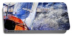 Portable Battery Charger featuring the painting Sailing Souls by Hanne Lore Koehler