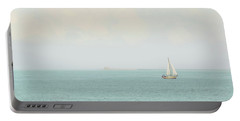 Portable Battery Charger featuring the photograph Sailing The Ocean Blue by Deborah  Crew-Johnson