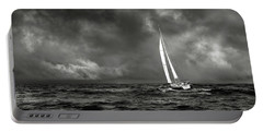 Sailing The Wine Dark Sea In Black And White Portable Battery Charger