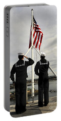 Sailors Raise The National Ensign Portable Battery Charger by Stocktrek Images