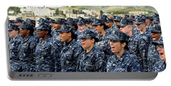 Sailors Yell Before An All-hands Call Portable Battery Charger by Stocktrek Images