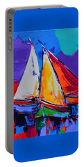 Portable Battery Charger featuring the painting Sails Colors by Elise Palmigiani