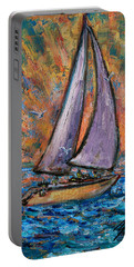 Portable Battery Charger featuring the painting Sails Up by Xueling Zou