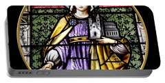Saint Adelaide Stained Glass Window In The Round Portable Battery Charger