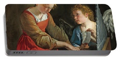 Saint Cecilia And An Angel Portable Battery Charger