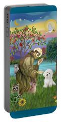 Saint Francis Blesses A Bichon Frise Portable Battery Charger