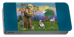 Saint Francis Blesses A Brown And White English Bulldog Portable Battery Charger