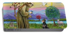 Saint Francis Blesses A Doberman Portable Battery Charger
