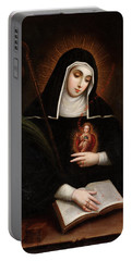 Portable Battery Charger featuring the painting Saint Gertrude by Miguel Cabrera