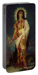 Saint Margaret Slaying The Dragon Portable Battery Charger by Antoine Auguste Ernest Herbert
