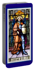Portable Battery Charger featuring the photograph Saint Michael The Archangel Stained Glass Window by Rose Santuci-Sofranko