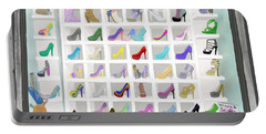 Portable Battery Charger featuring the painting Salina's Shoe Closet by Melinda Ledsome