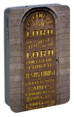 Portable Battery Charger featuring the photograph Salt Lake Lds Temple Dedication Plaque Close-up by Gary Whitton