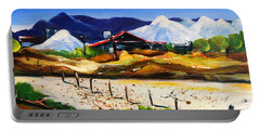 Portable Battery Charger featuring the painting Salt Works - Port Alma by Therese Alcorn