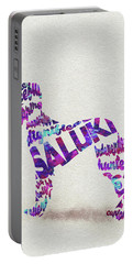 Portable Battery Charger featuring the painting Saluki Dog Watercolor Painting / Typographic Art by Inspirowl Design