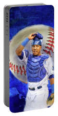 Portable Battery Charger featuring the mixed media Salvador Perez-kc Royals by Colleen Taylor