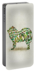 Portable Battery Charger featuring the painting Samoyed Watercolor Painting / Typographic Art by Inspirowl Design