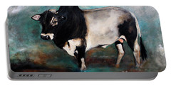 Portable Battery Charger featuring the painting Samson The Master Champion Herd Sire Miniature Zebu by Barbie Batson