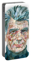 Portable Battery Charger featuring the painting Samuel Beckett Watercolor Portrait.10 by Fabrizio Cassetta