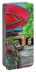 Portable Battery Charger featuring the painting San Antonio River Walk Cafe by TM Gand