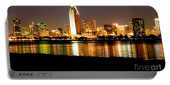 San Diego Skyline With Reflections On Mission Bay Portable Battery Charger