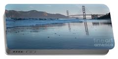 San Francisco Golden Gate Bridge Reflected On Baker's Beach Wet  Portable Battery Charger