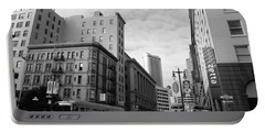 San Francisco - Jessie Street View - Black And White Portable Battery Charger