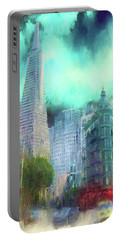 Portable Battery Charger featuring the digital art San Francisco by Michael Cleere