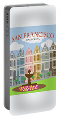 San Francisco Painted Ladies Poster Illustration Portable Battery Charger