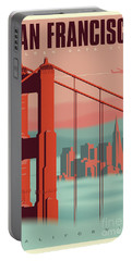 San Francisco Retro Travel Poster Portable Battery Charger