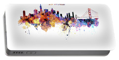 San Francisco Watercolor Skyline Portable Battery Charger by Marian Voicu