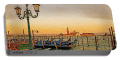Portable Battery Charger featuring the digital art San Giorgio Maggiore Venice Gondolas by Anthony Murphy