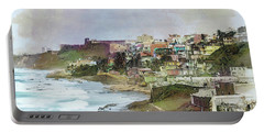 San Juan By The Ocean Portable Battery Charger by John Rivera