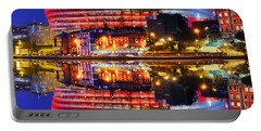 San Mames Stadium At Night With Water Reflections Portable Battery Charger