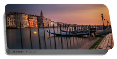 San Marco Campanile With Gondolas At Grand Canal During Calm Sunrise, Venice, Italy, Europe. Portable Battery Charger