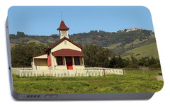 Portable Battery Charger featuring the photograph San Simeon - Castle And Schoolhouse by Art Block Collections