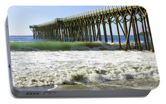 Portable Battery Charger featuring the photograph San Simeon Pier by Art Block Collections