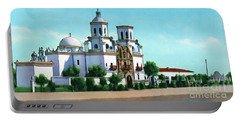 San Xavier Del Bac Mission Portable Battery Charger by Walter Colvin