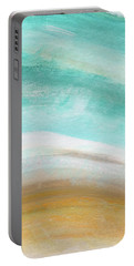 Sand And Saltwater- Abstract Art By Linda Woods Portable Battery Charger